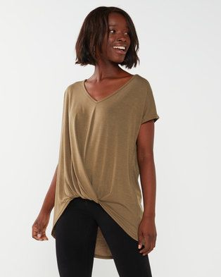 Utopia Pleat Front Knit Top Olive