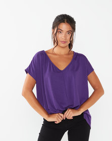 Utopia Pleat Front Knit Top Magenta