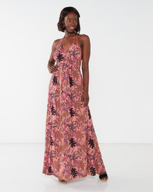 Utopia Salmon Foliage Print Maxi Dress With Tassels Pink