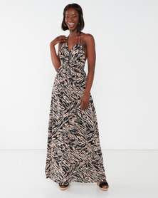 Utopia Animal Print Maxi Dress With Tassels Multi