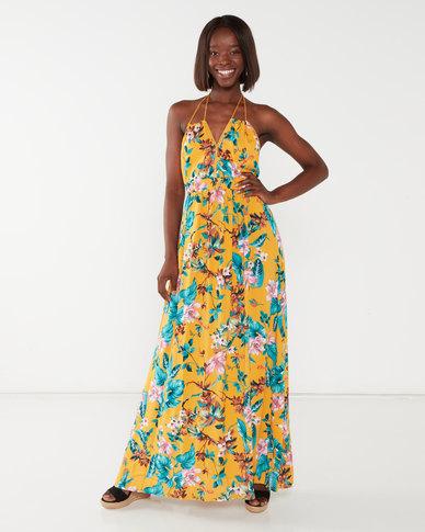 Utopia Mustard Tropical Print Maxi Dress With Tassels Yellow