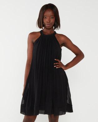 Utopia Sunray Pleated Aline Dress Black