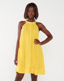 Utopia Sunray Pleated Aline Dress Yellow