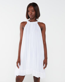Utopia Sunray Pleated Aline Dress White
