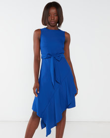 Utopia Asymmetrical Georgette Dress Colbalt