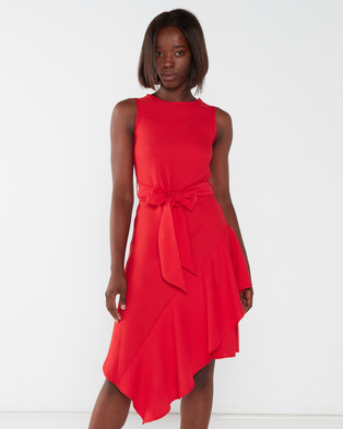 Utopia Asymmetrical Georgette Dress Red