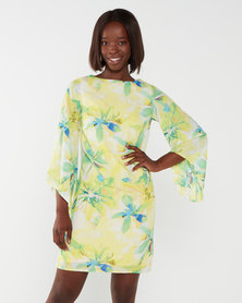 Utopia Watercolour Print Tunic Dress Yellow