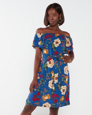 Utopia Sunflower Print Floaty Dress Blue