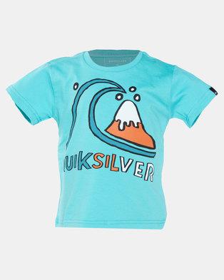 Quiksilver Bubble Logo Boy Short Sleeve T-Shirt Blue
