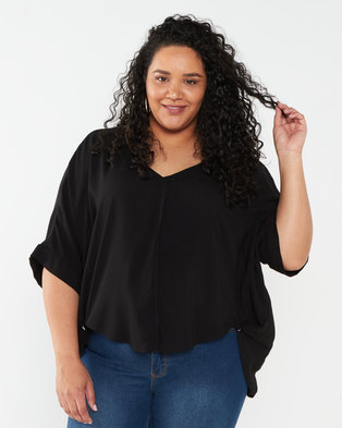 Utopia Plus Viscose Batwing Top  Black
