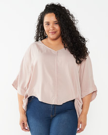 Utopia Plus Viscose Batwing Top Pink