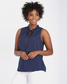 Contempo Viscose Top Navy
