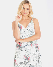 Contempo Multi Print Mock Wrap Strappy Dress Ivory