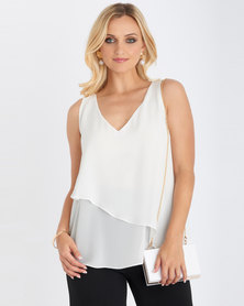 Contempo Asymmetrical Double Layer Top  Ivory