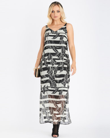 Contempo Printed Lined Maxi Dress Stone