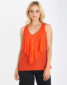 Contempo Frill Top With Necklace Orange