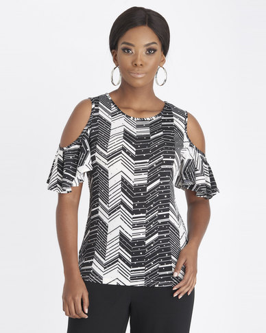 Contempo Printed Embellished Top Black