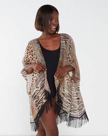 Joy Collectables Animal Print Fringed Throwover  Multi