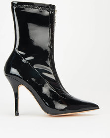 Sissy Boy Perspex Heeled Ankle Boots Black