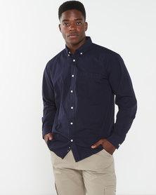 Jeep Plain Cotton Poplin Shirt Navy