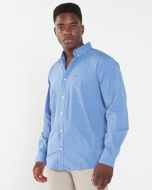 Jeep Plain Cotton Poplin Shirt Mid Blue
