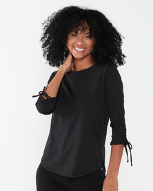 Jeep 3/4 Sleeve Detail Fashion Top Black