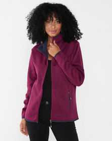 Jeep Jersey Knit Zip-Thru Trucker Berry