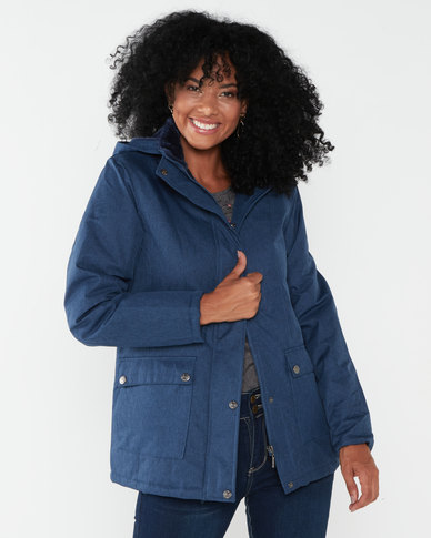 Jeep Hooded Polyester Padded Jacket Navy