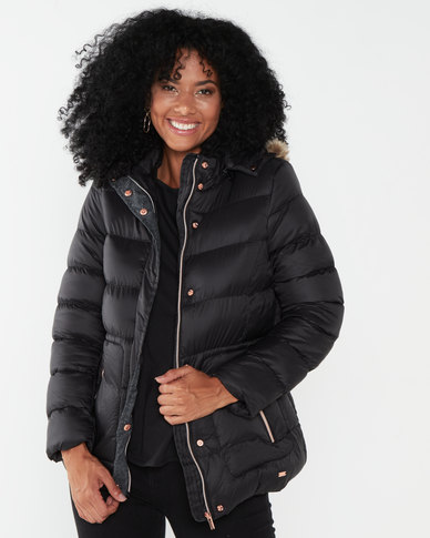 Jeep Fur Lined Hooded Poly Puffer Jacket Black
