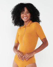 Sissy Boy Let It Zip Bodysuit Mustard