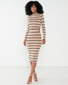 Sissy Boy Chommy Striped Polo Neck Dress Black/ Nude