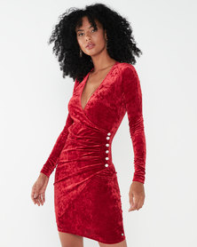 Sissy Boy Vital Velvet Bodycon Red