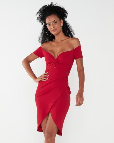 Sissy Boy Told Y'all Bardot Dress Deep Red