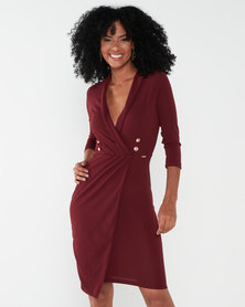 Sissy Boy Girl Boss Collared Wrap Dress With 3/4 Sleeve Bordeaux