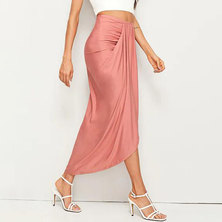 JAVING High Waist Drapey Ruched Wrap Skirt   dusty pink