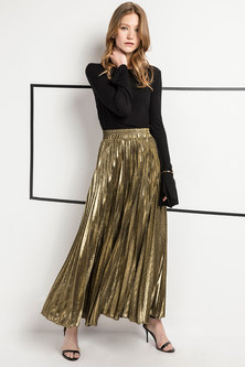 JAVING Elastic Waist Metallic Pleated Maxi Skirt   gold