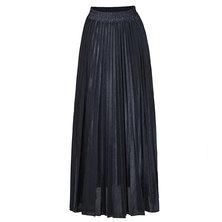 JAVING Elastic Waist Metallic Pleated Maxi Skirt   navy