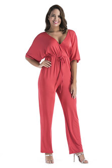 JAVING Double V neck Batwing Sleeve Drawstring Waist Jumpsuit  coral