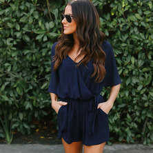 JAVING Wrap Front Flounce Sleeve Belted Blouson Playsuit   navy