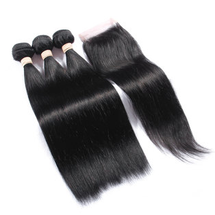 BLKT 28 inches 12A Peruvian Straight Weaves x3 Bundles and Free Closure