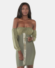 UrielP Haute Couture Bodycon Mini Dress Olive green