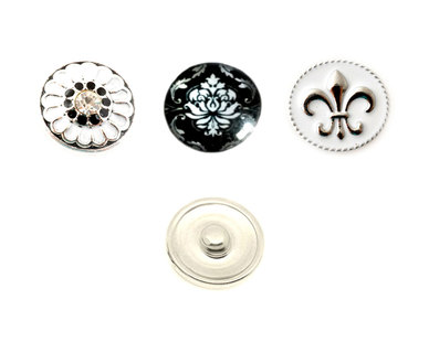 Urban Charm Interchangeable snap button Set of 3 - Royal Damask