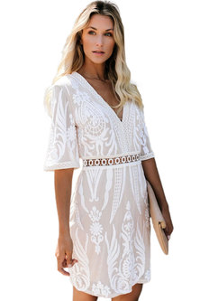 Princess Lola Boutique Leaving On A Jetplane White Sequin Embellished Dress