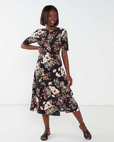 Brave Soul Short Sleeve Print Dress Black Floral
