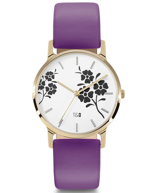 Tick & Ogle Ladies Watch Leather Gold White Purple