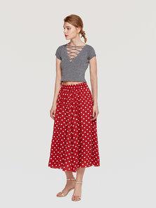 JAVING Polka Dot Print Elastic Waist Midi Skirt   red white