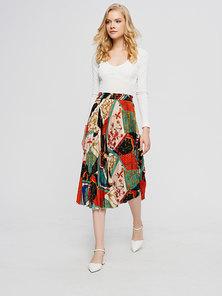 JAVING Chain Print Pleated Midi Skirt   black multi