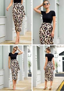 JAVING Leopard Print Side Tie Wrap Skirt   beige black