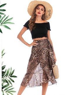 JAVING Leopard Print Side Tie Sheer Overlay Wrap Skirt   tan black