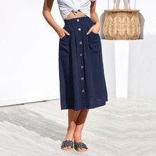 JAVING Button Front Elastic Waist Patch Pocket Midi Skirt   navy
